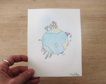 Planet Earth - original Watercolour