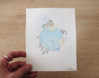 Planet Earth - original Watercolour