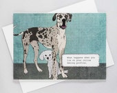 When you lie on your dating profile, Great Dane, Toy Poodle, Funny Dog Card, Blank Inside, Just for Fun, All Occasion, Dog Humor, Hand drawn
