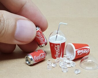 2 Sets of Cola Coke Cans with Plastic glass Dollhouse Miniature Drink Soft