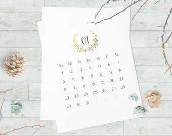 Printable 2017 calendar, Monthly calendar printable, Yearly calendar, Wall calendar large, Calendar for 2017, Large printable calendar