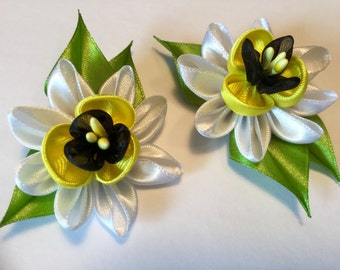 Kanzashi flower Barrette pair