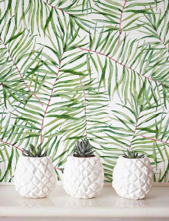 feuille aquarelle motif papier peint papier peint amovible. Black Bedroom Furniture Sets. Home Design Ideas