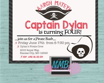 Black, Red, and White Pirate Birthday Party 5x7