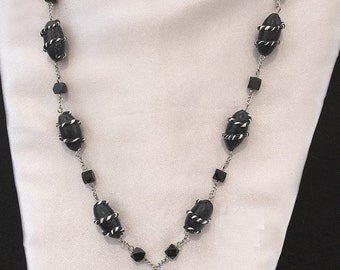 Handmade Beaded Necklace Black and Silver With Matching Earrings