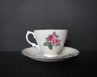Pink Rose Pedestal Teacup Custom-Scented Candle with Saucer