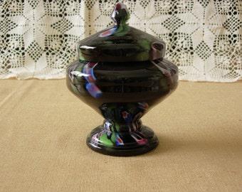 Black Swirl Bohemian Czech Glass Jar with Lid