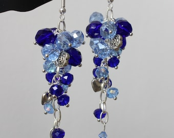 Silver Plated Sapphire Blue Cluster Earrings