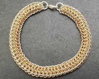 Sterling Silver & 14kt Gold fill Chainmail Dragonspine Bracelet
