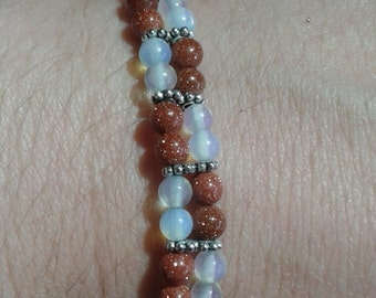 FREE SHIPPING Gold sand and opal bracelet