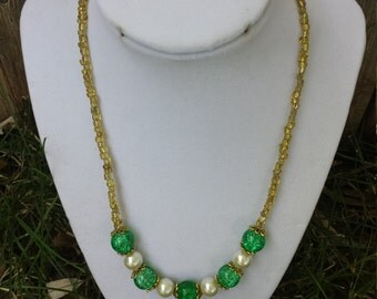Green and Gold Necklace / Beaded Necklace