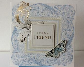 Unique, Feminine,  Floral Pop-Up, Collage Card for a Special Friend.