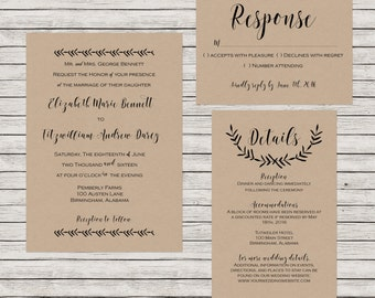 Rustic Wedding Invitation, Printable Wedding Invitation Suite, Kraft Paper Wedding Invitation, Printable Wedding Invitation Set
