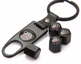 Audi Key Chain Ring Wrench and Valve Caps - Car Keyring, Car Keychain, car accessories, TT, R8, A1, A3, A4, A5, A6, A7, A8, Q2, Q3, Q5, Q7