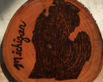 Michigan mitten woodburning