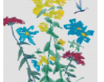 Colourful Floral and Butterfly Cross Stitch Design