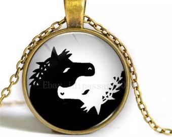 HORSE glass cabschon vronze pendant necklace-NEW!