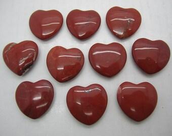 """Bulk 1""""(25X7MM) Red Jasper Pocket Hearts - 10 PC. LOT"""