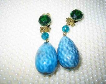 Vintage 40s Art Glass Dangling Earrings Clip on Germany