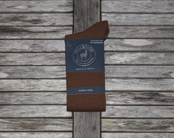 Brown Alpaca mid-calf socks for men