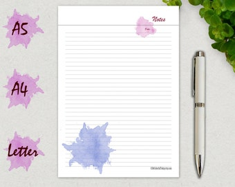 Notes Page Printable, Notes Template, Notebook Page A5, A4, Letter, Filofax Printable, Kikki K Planner, Meeting Notes, Agenda, Watercolor A5
