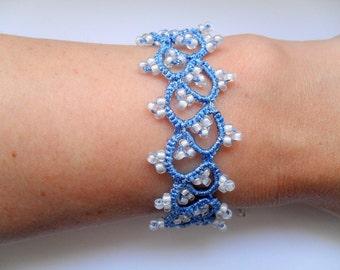 Fiber tatted cuff bracelet ,Tatting lace bracelet,Blue lace bracelet, Filigree bracelet, Fine jewelry, Handmade jewelry