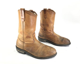 Size 11 C - Men's Red Wing Vintage Pecos Work Boots Distressed Brown Leather