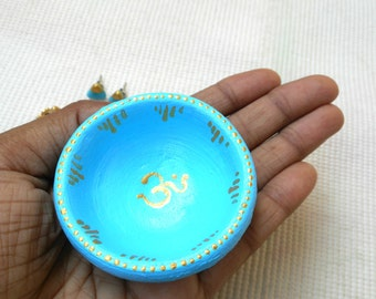 Blue Ring Dish, Blue Ring Holder, Blue and Gold Jewelry Dish.
