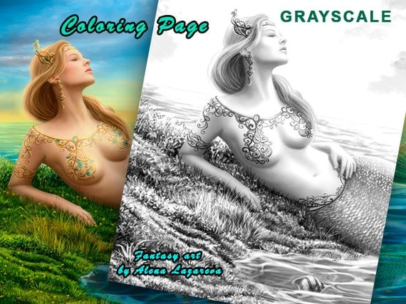 Coloring Page, Grayscale illustration for coloring book. Beautiful princess- fantasy mermaid at sunset