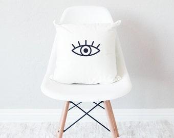 White throw pillow with insert / minimal home decor / eyes open design cushion /