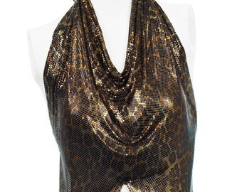 Anthony Ferrara Vintage Leopard Whiting and Davis Mesh Halter Top