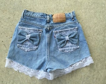 Lace Bow High Waisted Shorts