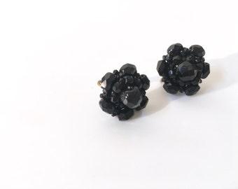 Black Beaded FlowerClip-ons