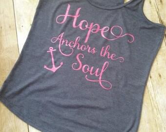 Racerback, summer t-shirt, christian, nautical, hope, inspirational, active wear, exercise