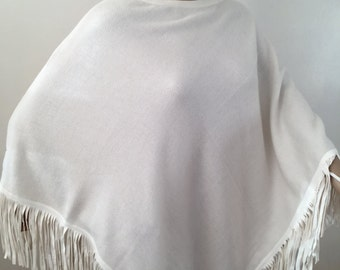 Cashmere Luxury Poncho with Suede LeatherTassels