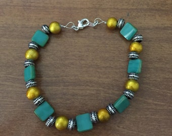 Bracelet blue and yellow and silver