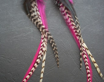 Earrings feather natural grizzly fun and trendy