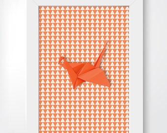 Origami Bird, orange