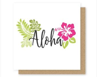 Aloha Tropical Card - 100% Recycled Card - Birthday Card - Blank Card