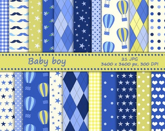 Baby boy digital paper - 21 printable jpeg papers, 3600x3600 px, 300 dpi - baby backgrounds -