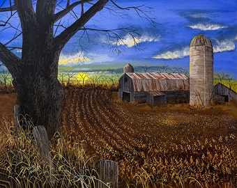 A farm painting: 'Soybean Time', an original acrylic painting/ Barn painting/ Rustic art/ Country art