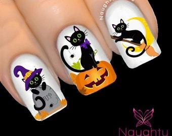 Super Cheeky Black Cats Halloween Nail Water Transfer Decal Sticker Art Tattoo H-112