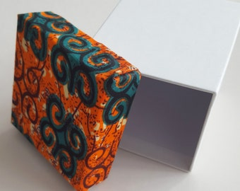 Orange and Green African Fabric Gift Box