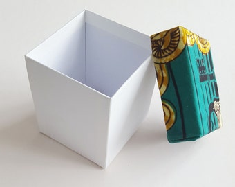 Hand made Matt white gift box with Green and Yellow African fabric covered Lid.