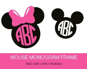 Minnie Mouse SVG, Mouse Ears SVG Monogram frame, Mouse Bow, Svg, Eps, Dxf, Studio3 use with ...