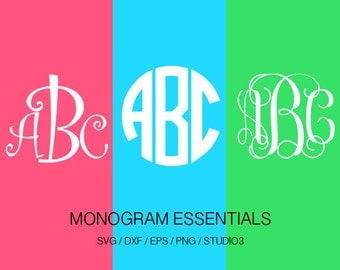 Curly Monogram SVG, Circle Monogram SVG, Vine Monogram SVG, Svg, Eps, Dxf, Studio3 use with Cricut & Silhouette