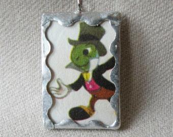 Jiminy Cricket from Disney's Pinocchio - Handmade Soldered Glass Pendant with Vintage Disney Illustration