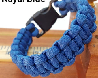 Solid Colors - Cobra Stitch 550 Paracord Survival Bracelet, Outdoor, Camping FREE SHIPPING!!