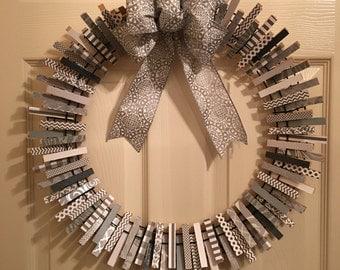 Grey & White clothespin wreath