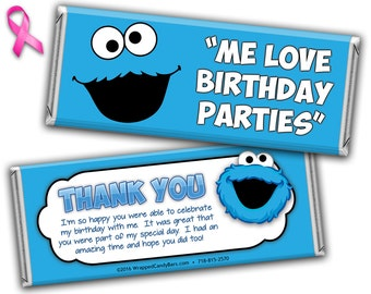Cookie Monster Candy Bar Wrappers Printed or Digital File, Cookie Monster Candy Wrapper, Cookie Monster Birthday Candy Wrapper Sesame Street